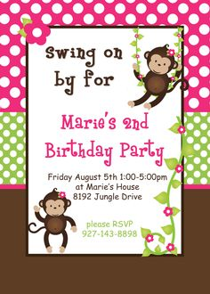 DIY Girl Monkey  Birthday Collection PRINTABLE Party Package  Banner Cupcake toppers Invitation pink green. $25.00, via Etsy.