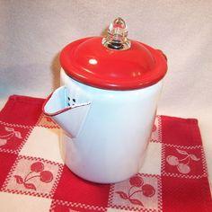 Red & White Enamelware Percolator Coffee Pot
