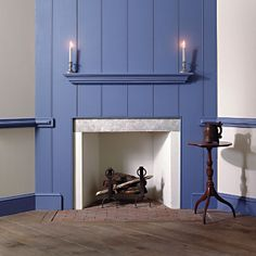 Blue painted wood fire mantle
