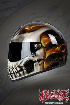 Custom Airbrushed Cool Smiley Face Motorcycle Helmet - Blaze Artworks