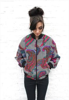 VINTAGE 1980'S DOG TOOTH & PAISLEY BOMBER JACKET