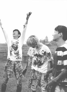 """Chanyeol looks so happy being covered in mud while the Kai and Chen look like they are asking themselves, """"what did I get into?"""""""