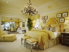 ** Master bedroom in shades of yellow and gold