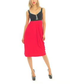 Another great find on #zulily! Red & Black Gathered Empire-Waist Dress by Zac Studio #zulilyfinds