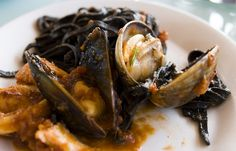 black linguine with clams.  The Franciscan Crab Restaurant, Fisherman's Wharf, San Francisco.  415.362.7733
