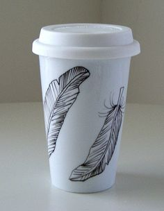 Ceramic Coffee Travel Mug Feathers Black White Modern by sewZinski, $25.00. Would be perfect for QT Coffee stops on school mornings... :)