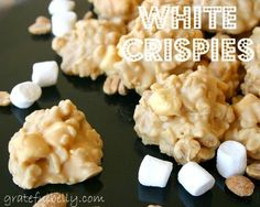 White Crispies - 2 bags (4 cups) white chocolate chips, 1 cup peanut butter, 3 cups Rice Krispies Cereal, 2 cups miniature marshmallows, 1 cup salted peanuts.