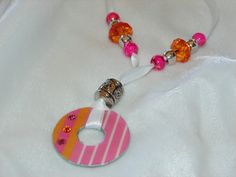 Jewelry Washer Necklace Pink and Orange.