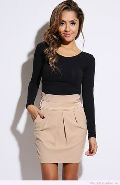 Nude high waist pencil skirt