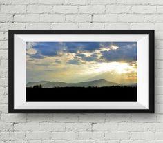"Sun rays cloud mountain | Panoramic Landscape Photography | Sunset light | Large Wall Art Print | Fine Art Photography | ""Hope Rays"""