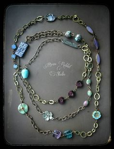 Bohemian layered necklace assemblage mixed by BrassRabbitStudio