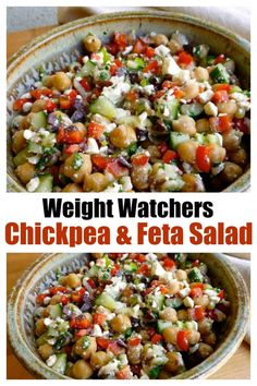 This easy healthy WW chickpea & feta salad is so flavorful and satisfying. # Food and Drink salad Weight Watchers Chickpea Feta Salad Salade Weight Watchers, Weight Watchers Lunches, Plats Weight Watchers, Weight Watchers Meal Plans, Weight Watchers Diet, Weight Watchers Vegetarian, Ww Recipes, Vegetarian Recipes, Cooking Recipes