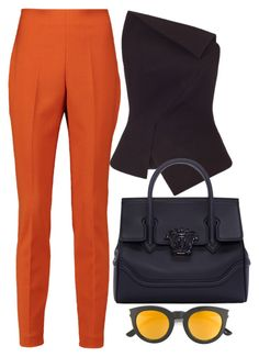 Orange & Black by carolineas on Polyvore featuring polyvore, fashion, style, Roland Mouret, Giambattista Valli, Versace, Yves Saint Laurent and clothing
