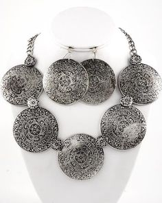 """CHUNKY BURNISHED SILVER TONE NECKLACE SET    * If you need a necklace extender I have them for sale in my store.*     NECKLACE: 18"""" + EXT    CHARM: 2 1/8"""" DIA    HOOK EARRINGS: 2 3/8"""" DIA    LOBSTER CLAW CLOSURE ON NECKLACE     COLOR: SILVER TONE $21.99"""
