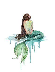 "Watercolor Mermaid Painting - Print titled, ""The Mermaid"", Beach Decor, Mermaid Tail, Mermaid Print, Mermaid Wall Art, Emerald Green, Ocean"