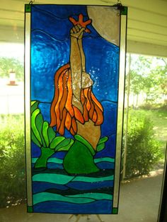 First Gog Stained Glass Mosaic Of Mermaid And Dolphin
