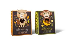 These cute little packages for Great Temptations feature a die-cut window heart showing mini chocolate and banana muffins that kids love. Design by Dessein, Perth Western Australia.