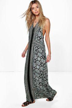 b0110685cfaf Pihu Placement Print Back Detail Maxi Dress at boohoo.com Back Details,  Latest Dress