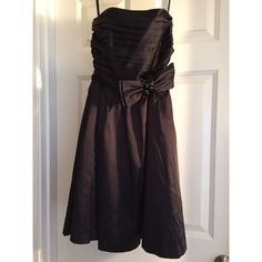 White House | Black Market Satin Dress Like new, only worn once for wedding. Versatile dress with option of many looks. Black satin, removable halter strap, removable black jewel bow belt or red sash. White House Black Market Dresses