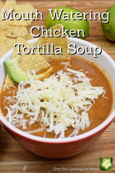 Mouth watering chicken tortilla soup, fire roasted bell pepper, onions, tomatoes, corn tortillas, cumin, oregano and thyme is slow simmered topped with cheese.