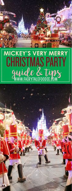 Mickey's Very Merry Christmas Party is always one of our favorite events of the year and with this guide we wanted to help you have the absolute best, merriest time! Check out all the party fun on FairytaleFoodie.com Disney Vacation Tips I Disney Christmas I Disney Guide I Disney Travel I Disney Parks I Magic Kingdom