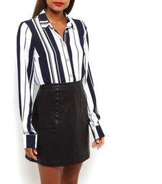 Cameo Rose. Try teaming this blue stripe long sleeve shirt with a black leather-look skirt and ankle strap heels.- All over stripe print- Collared design- Button front fastening- Sleeve button detail- Casual fit