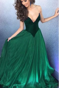 Green chiffon V-neck sweetheart long evening dresses,sexy long dresses without straps