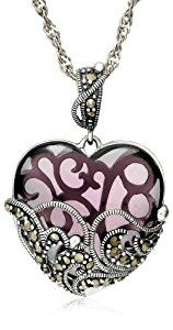 """Sterling Silver Marcasite and Amethyst Colored Glass Heart Pendant Necklace, 18""""  http://electmejewellery.com/jewelry/necklaces/sterling-silver-marcasite-and-amethyst-colored-glass-heart-pendant-necklace-18-com/"""
