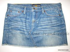 LUCKY BRAND Denim Jean BLOSSOM Mini Skirt Womens 8  29 Faded Wash Frayed Hem #LuckyBrand #Mini