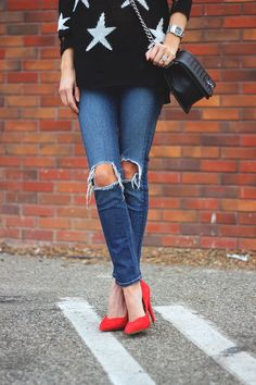 ripped denim + red pumps