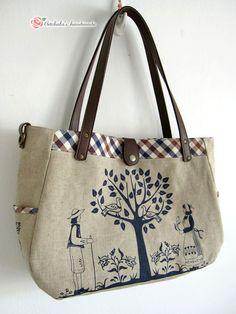 artchala handmade: Zakka Tote In Britishness Style (I would call this Japanese style, but ... :)英伦风zakka包 #totebag #zakka #sewing