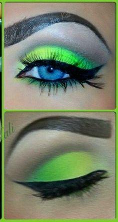 lime green eye makeup <3