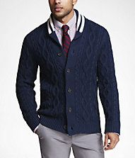 This chunky cardigan can double as a jacket. And bonus points for the striped collar!