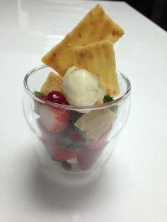 Strawberries, Buckwheat Tuile & Chervil Ice Cream