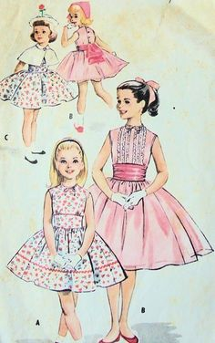 1950s GIRLS PARTY DRESS,CAPE, CUMMERBUND PATTERN SO SWEET McCALLS PATTERNS 4104