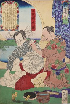 In this print from Heroes of the Suikoden, Yoshitoshi presents Kyumonryu receiving his namesake tattoos. With all outlines and one sleeve complete, the tebori master begins to shade the hero's shoulders. With his right index finger extended along the bamboo of the hari, the tattoo artist holds the skin taught and the sumi brush with the left hand. Depicting the prepared ink and different hari on the floor next to the artist, Yoshitoshi reveals the tools and practice of tebori during the Edo…