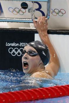 USA swimmer Katie Ledecky reacts after winning the gold in the women's 800m freestyle final during the London 2012 Olympic Games.
