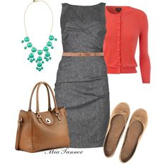 Coral Class - Polyvore  I have a similar dress and sweater