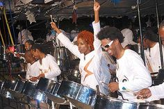 The steel drum--originated in Trinidad.  This is often the sound used associated with being in the Caribbean.