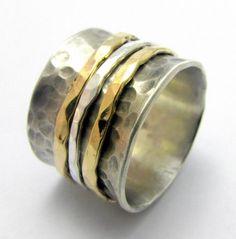 Hammered Sterling Silver 925  9K gold Spinner Ring by yoelsjewlery, $345.00