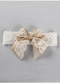 White stretch satin lace garter featuring a burlap and lace bow, a lovely bridal garter for your rustic or country themed wedding.
