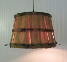 Madison. VINTAGE Wooden BASKET Made CHANDELIER Light by LampGoods, $110.00