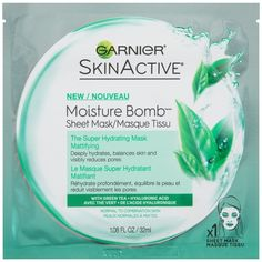 SkinActive Moisture Bomb The Super Hydrating Sheet Mask Mattifying from Garnier is a water-based sheet mask with Hyaluronic Acid, an ingredient naturally found in skin, floods skin with intense, weightless hydration. At Home Face Mask, Best Face Mask, Face Face, Best Sheet Masks, Listerine Foot Soak, Skin Active, Hydrating Serum, Anti Ride, L'oréal Paris