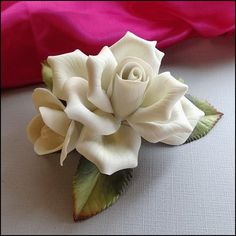 Porcelain Rose Figurine Lg White Winter Rose by Andrea $30