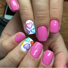 Simple Nail Art Designs That You Can Do Yourself – Your Beautiful Nails Nail Design Glitter, Nail Design Spring, Nails Design, Valentine's Day Nail Designs, Acrylic Nail Designs, Acrylic Nails, Heart Nail Designs, Trendy Nail Art, Cute Nail Art