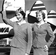 Airline stewardesses, so much more fun and formal back in the day!