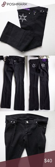 DVB embroidered star black Jeans Denim by Victoria Beckham  Black denim featuring Embroidered star pockets • low rise • boot cut • western country girl style • rock n' roll style  • preloved condition • flaws faded color Victoria Beckham Jeans