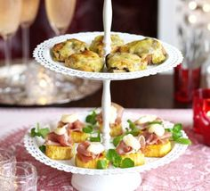 Sweet potato stackers For an added kick to these canapes, try swapping the lemon juice for a teaspoon of mustard in the mayo Easy Canapes, Canapes Recipes, Savoury Finger Food, Finger Foods, Sweet Potato Stackers, Chutney, Tapas, Healthy Potatoes, Bbc Good Food Recipes