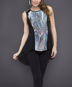 This Black & Blue Snakeskin Color Block Hi-Low Top by Adore is perfect! #zulilyfinds