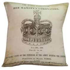 Vintage English Royal Crown Coronation Burlap Cotton Throw Pillow Cover - Ships FREE to US and Canada
